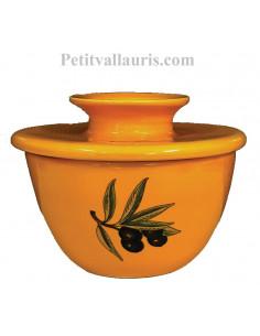 Beurrier breton en faience conservateur couleur jaune Provençal décor olives noires