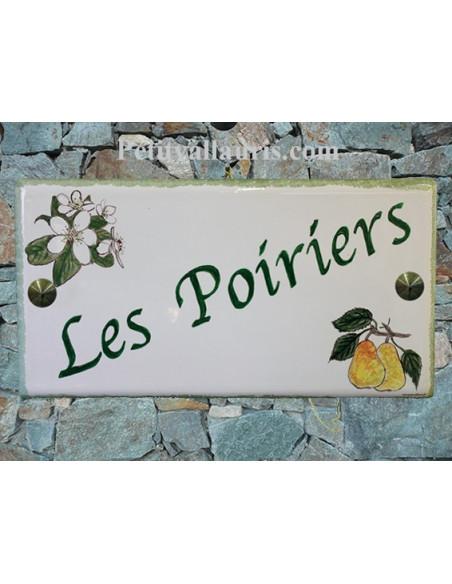 Grande plaque de maison rectangle en faience 40 x 20 cm décor artisanal Poires et Fleurs