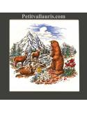 Carrelage mural blanc au motif décor chamois et marmotte en montagne enneigée de taille 15 x15 et 20 x 20 cm
