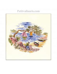 Carreau en faience blanche décor paysage provençal motif pêcheur et calanque 15 x 15 cm