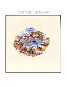 Carreau en faience blanche décor paysage provençal motif pêcheur et calanque 10 x 10 cm