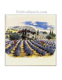 Carreau en faience blanche décor paysage haute provence 10 x 10 cm