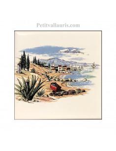 Carreau en faience blanche décor littoral méditérranéen 10 x 10 cm