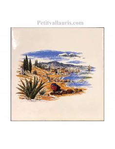 Carreau en faience blanche décor littoral méditérranéen 15 x 15 cm
