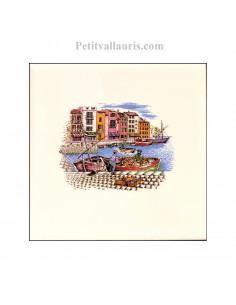 Carreau en faience blanche décor paysage provençal pêcheur et port 10 x 10 cm