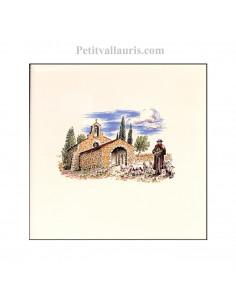 Carreau en faience blanche décor paysage provençal chapelle et berger 10 x 10 cm