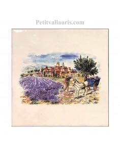 Carreau en faience blanche motif ramassage des lavandes + charette + village 15 x 15 cm