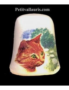 Dés à coudre en faïence décorative motif le chat roux