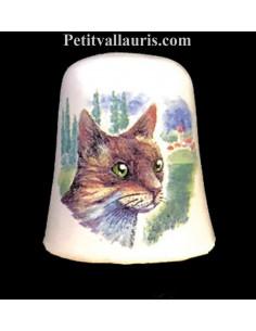 Dés à coudre en faïence décorative motif le chat siamois