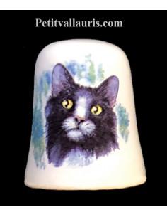 Dés à coudre en faïence décorative motif le chat noir et blanc