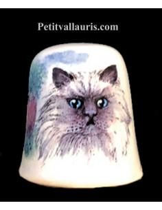 Dés à coudre en faïence décorative motif le chat persan