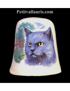 Dés à coudre en faïence décorative motif le chat chartreux