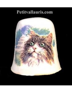 Dés à coudre en faïence décorative motif le chat sibérien
