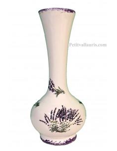 Vase Soliflore modèle boule en faïence blanche décor bouquets et brins de lavandes