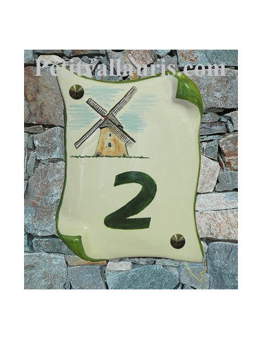 Plaque de Maison en faience modèle parchemin motif artisanal moulin des flandres + inscription personnalisée verte