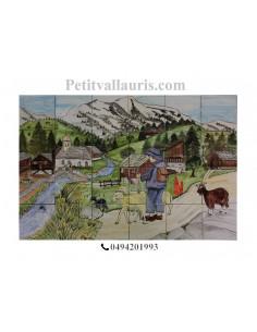 Fresque murale sur carreaux de faience décor artisanal modèle Paysage hautes pyrénées 90x60