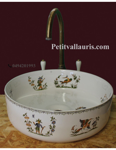 Vasque ronde à poser en porcelaine blanche reproduction décor Tradition Vieux Moustiers polychrome