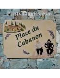 Grande plaque de maison en céramique modèle aux angles incurvés motif artisanal villa provençale et couple + personnalisation