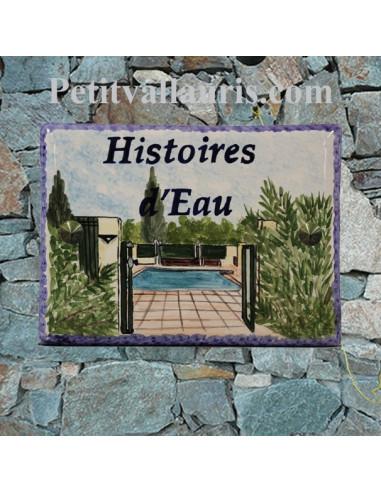 plaque de villa en céramique émaillée d'après une photo fournie par le client