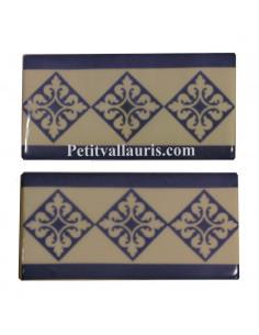 Carrelage frise de finition arabesque motif bleu en faience blanc crème 15 x 7,5 cm