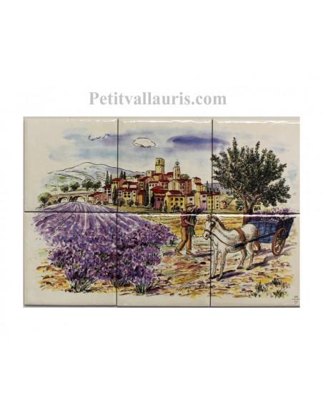 Fresque faïence Paysage village + lavandes + charette sur 6 carreaux 10 x 10 cm