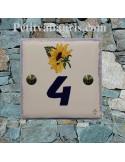 Numéro de maison en faience + gravure personnalisée décor artisanal le tournesol