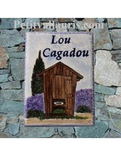 Plaque de maison en faience émaillée motif artisanal lou cagadou et inscription personnalisée