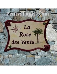 Plaque exterieure en céramique modele parchemin motif artisanal palmier et rose des vents avec inscription personnalisée