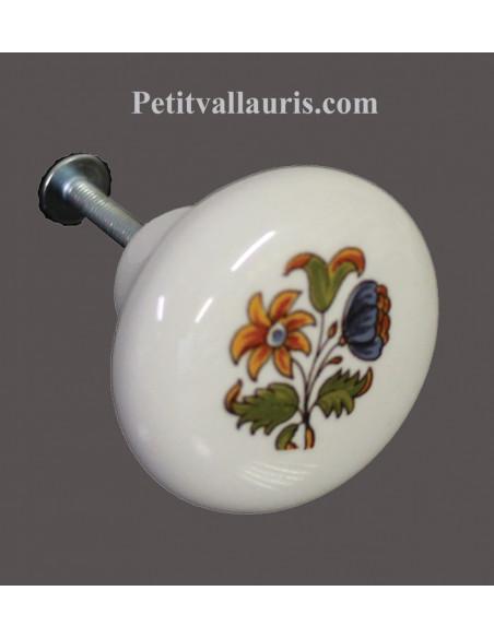 Bouton de tiroir en porcelaine blanche pour mobilier décor fleurs polychromes (diamètre 42 mm)