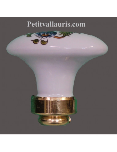 Bouton-poignée de porte et placard ovale en porcelaine décor bouquet de fleurs polychromes (diamètre 50 mm)