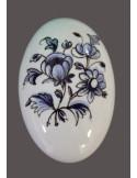 Bouton-poignée de porte et placard ovale en porcelaine décor bouquet de fleurs bleues