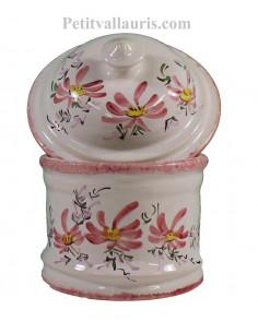 Pot de Salle de bain et à coton en faience blanche motif artisanal fleurs roses