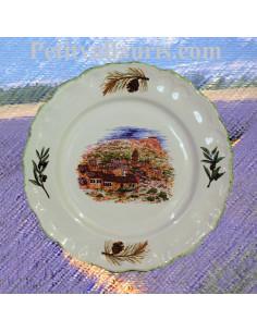 Petite assiette murale en faience blanche modèle Louis XV au décor Paysage village Var