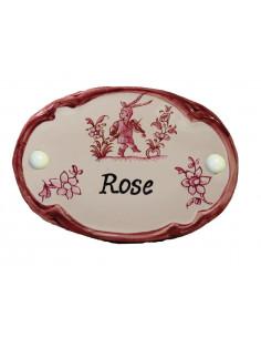 Plaque de porte en faience blanche modèle ovale décor rose avec inscription personnalisée