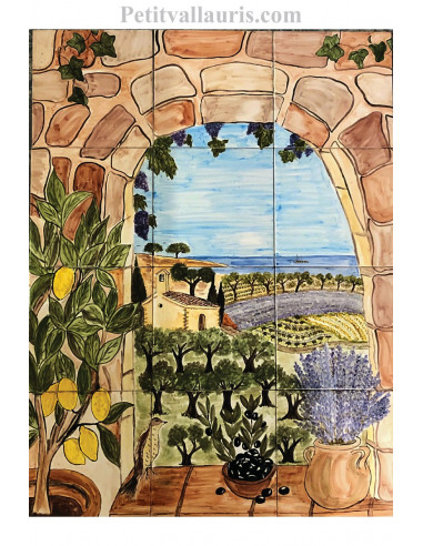 Fresque murale sur carrelage en faience motif artisanal trompe l'oeil paysage méditerranéen 60x80