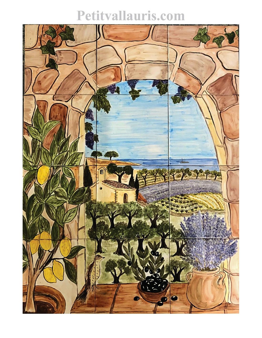 Fresque murale sur carrelage en faience motif artisanal trompe l'oeil paysage méditerranéen ...