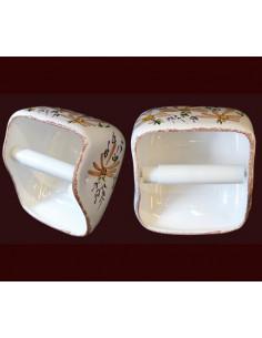 """Dérouleur-dévidoir """"ouvert"""" de papier toilette en céramique blanche motif artisanal fleurs beiges-saumon"""