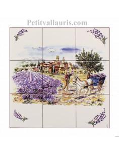 Fresque faïence Paysage village + lavandes + charette +brins 30 x 30cm