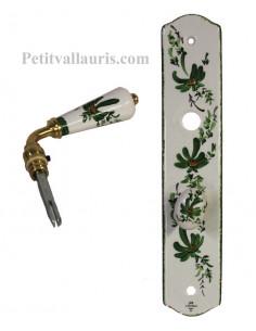 Plaque de propreté avec poignée en porcelaine modèle avec verrou motif artisanal fleuri vert