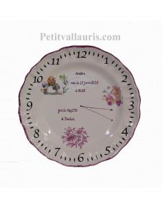 Assiette de naissance en faience décor angelot + petite souris + couffin pour petite fille + personnalisation