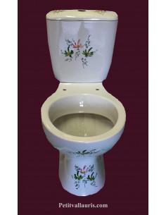 Toilettes-WC en porcelaine au décor artisanal fleuri vert et rose