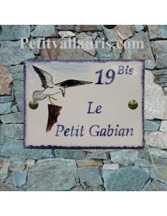 plaque de maison en céramique émaillée le gabian motif mouette-goeland inscription personnalisée