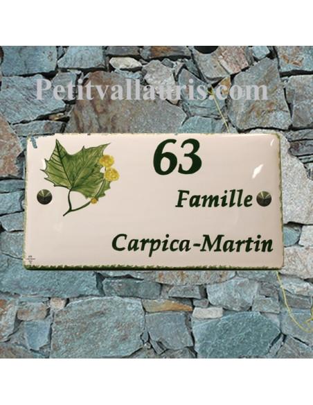 Plaque de Maison en céramique émaillée décor artisanal feuille de platane + inscription personnalisée