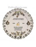 Assiette en faience pour souvenir de Mariage modèle Tournesol personnalisation noces de perle