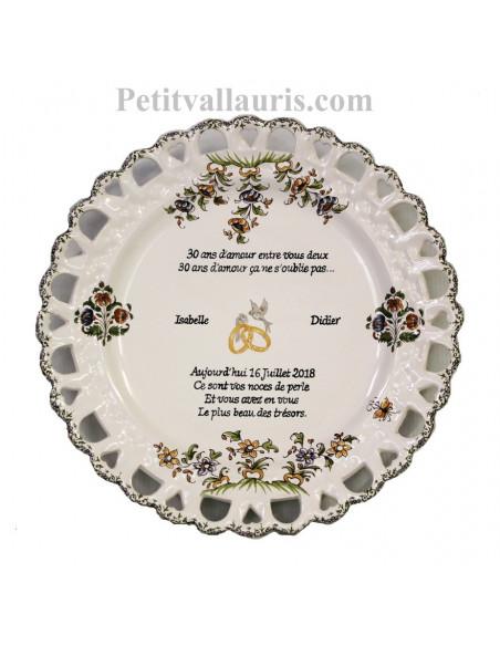 Assiette en faience pour souvenir de Mariage modèle Tournesol motif fleurs polychrome + personnalisation noces de perle