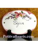 Plaque ovale Séjour fleur rose fin de série