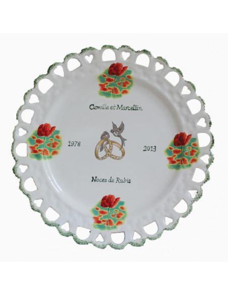 Assiette anniversaire de Mariage modèle Tournesol décor coquelicots texte vert