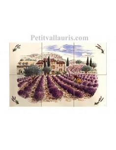 Fresque murale céramique sur carreaux blanc 15x15 décor paysage lavandes Haute Provence n°3