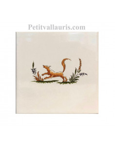 Carreau en faience blanche 15x15 cm pose horizontale reproduction moustiers polychrome motif le renard
