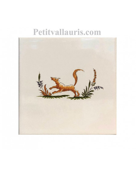 Carreau en faience blanche 15x15 cm pose horizontale reproduction moustiers polychrome motif le renard